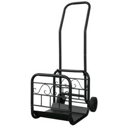 Large Black Log Rack with Wheels and Removable Cart
