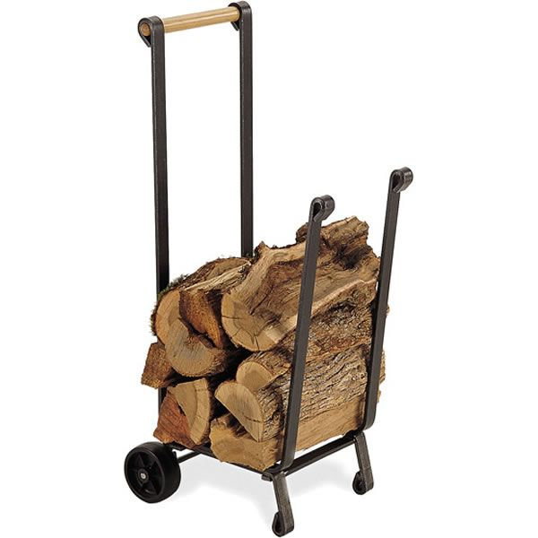 Uniflame Large Wood Cart with Wheels - Black image number 1