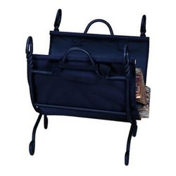 Swirled Ring Indoor Firewood Rack with Carrier - Black