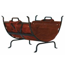 Wide Olde World Wood Holder with Suede Leather Log Carrier