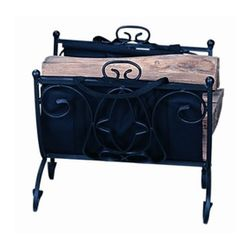 Wrought Iron Indoor Firewood Rack with Carrier - Black