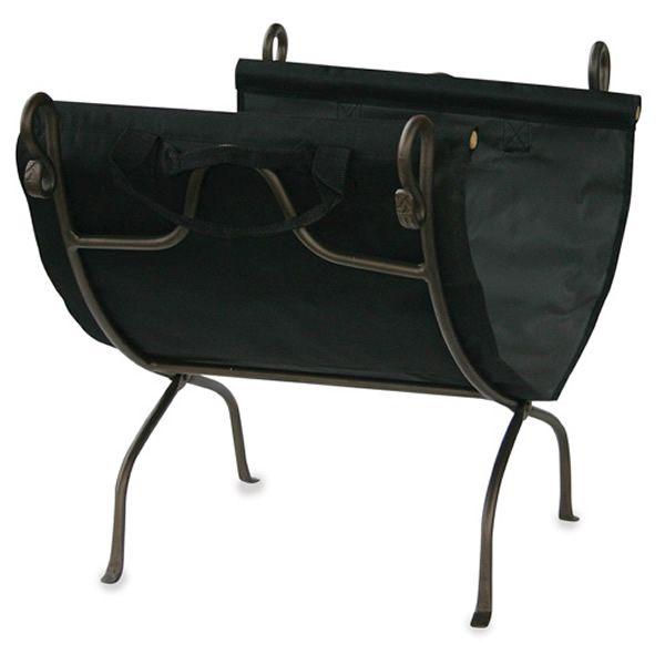 Uniflame Wrought Iron Indoor Firewood Rack with Carrier - Bronze image number 0