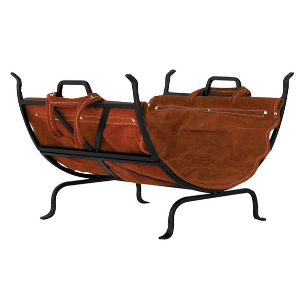 Uniflame Wrought Iron Indoor Firewood Rack with Brown Carrier image number 0