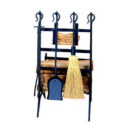 Wrought Iron Indoor Firewood Rack with Tools - Black