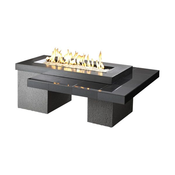 Uptown Black Gas Fire Pit Table 42 Burner Woodland Direct