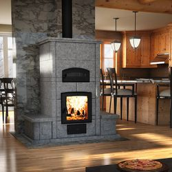 Valcourt FM1200 Soapstone Fireplace with Bench on Each Side