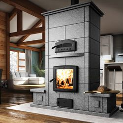 Valcourt FM1500 Soapstone Fireplace with Bench on Each Side