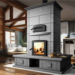 Valcourt FM1500 Soapstone Fireplace with Bench on Four Sides