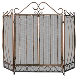 Venetian Triple Panel Bronze Bow Scrollwork Fireplace Screen