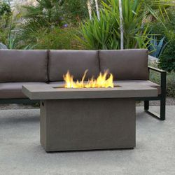 Real Flame Ventura Rectangle Gas Fire Pit Table -GlacierGray