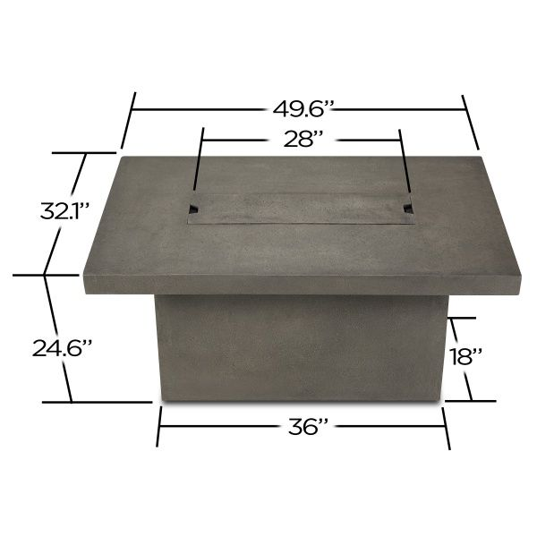 Ventura Rectangle Gas Fire Pit Table - Glacier Gray image number 1