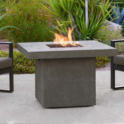 Real Flame Ventura Square Gas Fire Pit Table - Glacier Gray