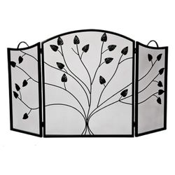 Vineyard 3-Panel Black Arched Fireplace Screen