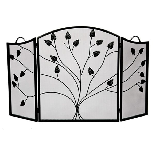 "Vineyard 3-Panel Black Arched Fireplace Screen - 52"" x 31"" image number 0"