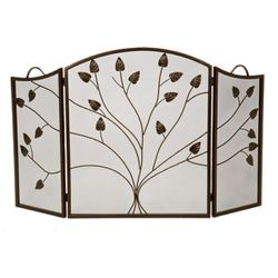 Vineyard 3-Panel Bronze Arched Fireplace Screen