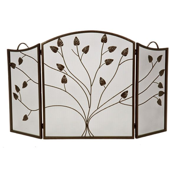 """Vineyard 3-Panel Bronze Arched Fireplace Screen - 52"""" x 31"""" image number 0"""