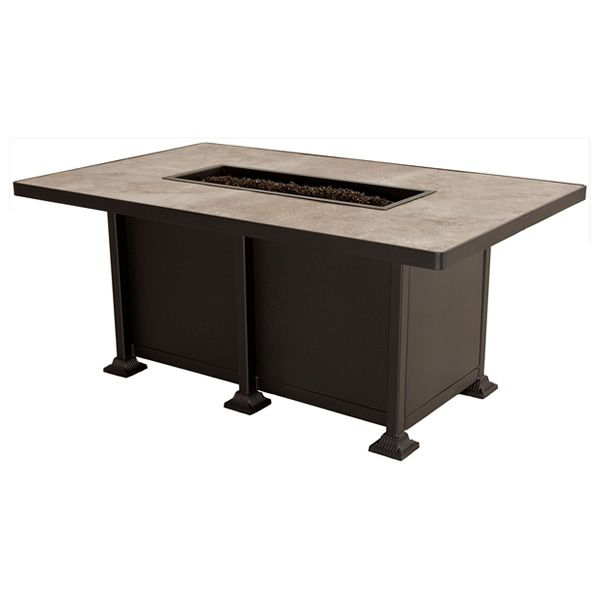 Vulsini Chat Height Gas Fire Pit Table - Rectangular image number 1