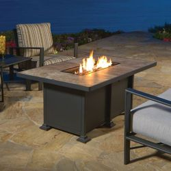 Vulsini Chat Height Gas Fire Pit Table - Rectangular