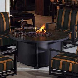 """Vulsini Round Chat Height Gas Fire Pit Table - 54"""""""