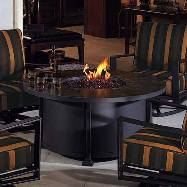 "Vulsini Round Chat Height Gas Fire Pit Table - 54"" image number 0"