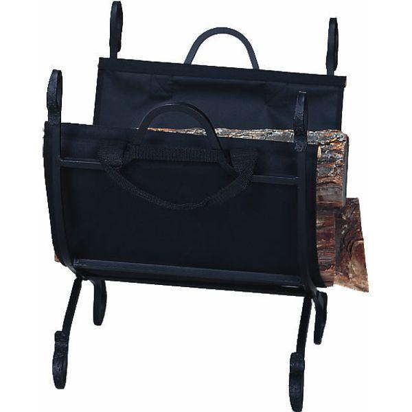 Uniflame Indoor Firewood Rack with Canvas Carrier - Hammered Black image number 0