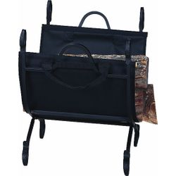 Indoor Firewood Rack with Canvas Carrier - Hammered Black