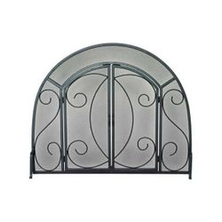 Ornate Fireplace Screen with Doors - Black Finish