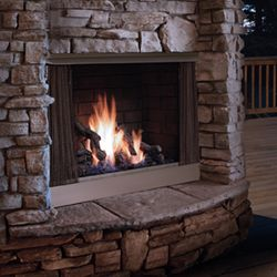 Zero-Clearance Outdoor Gas Fireplace - Stainless Steel