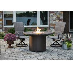 Marbleized Noche Beacon Dining Height Gas Fire Pit Table